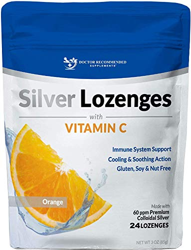 Silver Lozenges with Vitamin C - Premium Nano Silver 60 PPM Colloidal Silver, Organic Honey and Vitamin C Mineral Supplement Drops to Support Immune System, Soothe Cough & Throat - 24 Orange Lozenges