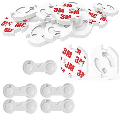 15 Piezas Kit de Seguridad para Bebés,Protector Puertas Bebe, 10 Protectores Enchufes...