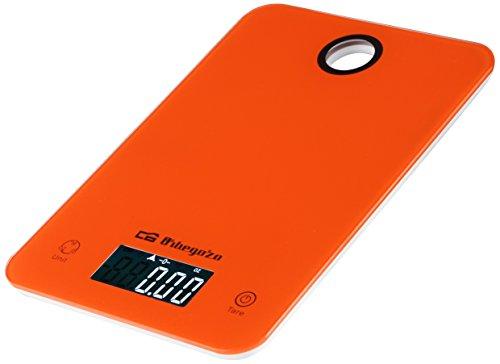 Orbegozo PC 1021 - Báscula de cocina, pantalla LCD, pulsadores táctiles, función auto-apagado, indicador de carga energética, capacidad máx. 5 kg, funciona a pilas
