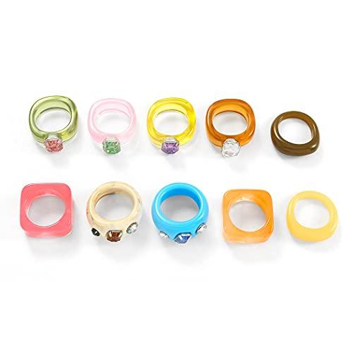 Bohend 10 anillos de resina coloridos, anillos gruesos de plástico acrílico, par de anillos de moda, accesorios para mujeres