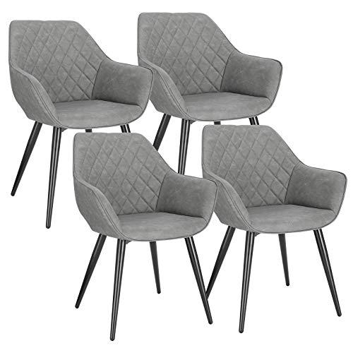 WOLTU BH251gr-4 4X Esszimmerstühle Küchenstühle Wohnzimmerstuhl Polsterstuhl Designstuhl mit Armlehne und Rückenlehne Sitzfläche aus Kunstleder Metallbeine Grau