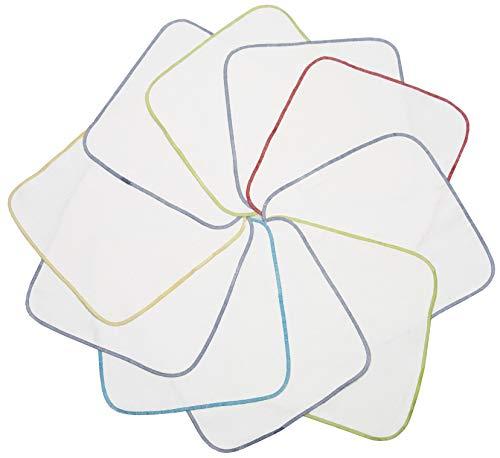 Zollner 10er Set Flanell Waschlappen, 100% Baumwolle, 25x25 cm, weiß