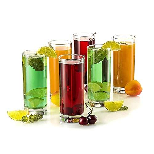 HLR Vasos de Whisky Jarra de Whisky Highball Vasos Transparentes Pesada Base Tall Glass Bar Gafas, For El Agua, Jugo, Cerveza, Vino, Whisky Y Cócteles, 13 Copas Onza, Juego De 6 Beber