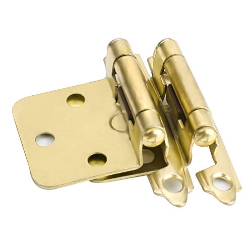 goldenwarm Brushed Brass Cabinet Hinges Variable Overlay Kitchen Cabinet Hinges SCH30BB Decorative Hinges for Cabinets Face Mount 10 Pairs(20 Packs)