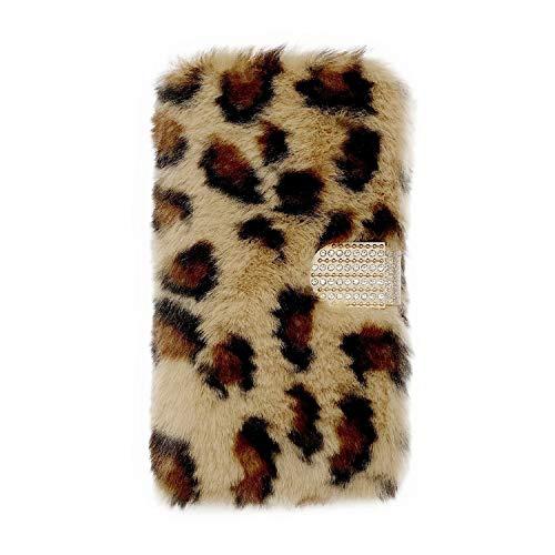 Miagon Plüsch Hülle für Samsung Galaxy Note 9,Flip PU Leder Hülle mit Diamant Buckle Kartenfächern Stand Warmer Winter Pelzig Brieftasche Schutzhülle,Leopard Braun