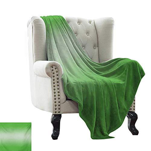 Manta mullida Ombre,verde hierba en la vívida temporada de primavera inspirada en las vibraciones modernas diseño digital ilustraciones, verde suave verano enfriamiento ligero cama manta 60'x70'