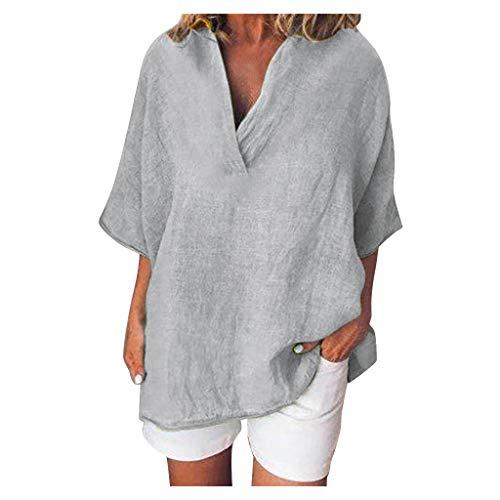 TOPSELD Damen Bluse V-Ausschnit Langarm Shirt Leinen Einfarbig Lässige Lose Tunika Tops T-Shirt Hemdbluse Große GrößenTunika Tops T-Shirt Hemdbluse Große Größen S-5XL(Grau,S)