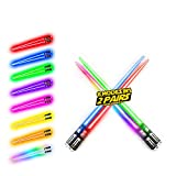 LIGHTSABER CHOPSTICKS LIGHT UP STAR WARS LED Glowing Light Saber Chop Sticks REUSABLE Sushi Lightup Sabers Bright LEDs - 8 Color Modes - 2 Pairs