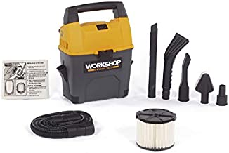 WORKSHOP Wet Dry Vac WS0301VA Portable Wet Dry Vacuum Cleaner For Car, 3-Gallon Wet Dry Auto Vacuum Cleaner, 3.5 Peak HP Portable Auto Vacuum With Accessories For Car Cleaning