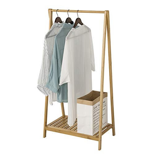 eSituro 100% Bamboo Clothes Rail Heavy Duty Coat Stand with Shoe Rack,Sturdy