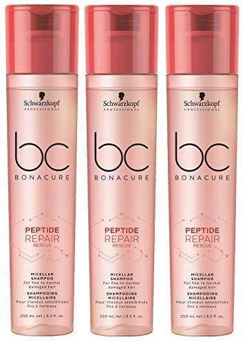 3er Peptide Repair Rescue Shampoo Bonacure Schwarzkopf Professional Micellar für feines bis normales Haar je 250 ml = 750 ml