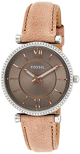 Fossil Women's Carlie Quartz Leather Three-Hand Watch, Color: Silver/Sand (Model: ES4343)