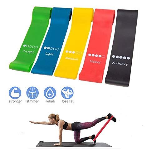 Widerstandsbänder [5er Set] Fitnessbänder aus Naturlatex für Muskelaufbau Pilates Yoga, Krafttraining Loops Resistance Bands, Gymnastikband für Hüfte Beine Männer Frauen