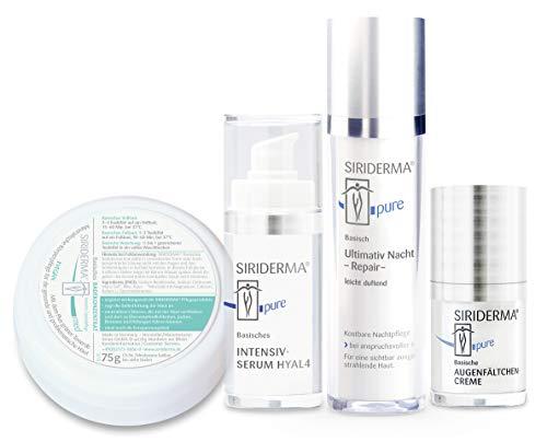 SIRIDERMA® Pflege-Set Anti-Age | Nachtpflege mit Hyaluron, Augenfältchencreme, Intensiv-Serum | 3 Gratis-Probiergrößen (leicht duftend)
