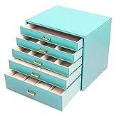 Caja Joyero, Caja De Almacenamiento De Alta Capacidad De Cuero De 5 Capas, para Pendientes De Almacenamiento, Anillos, Collares, Pulseras (Azul)