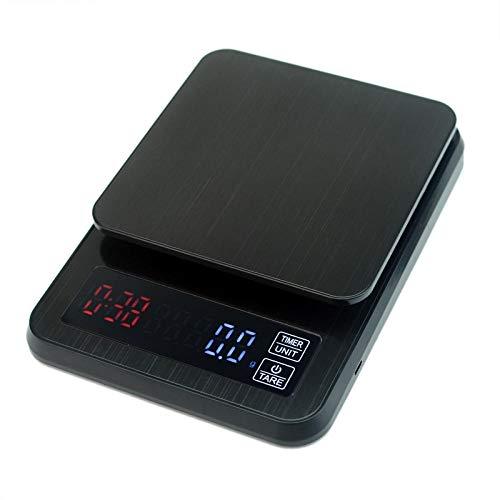 PRWJH Präzisions-Digitalkaffeewaage, 5 kg / 0,1 g mit Zeitschaltuhr Haushaltsnahrungsmitteldiät Digitale Postküchenwaage, Lebensmittelkochwaage