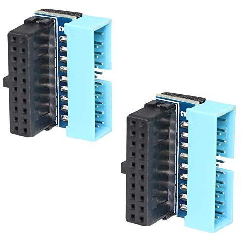 Adaptador de extensión USB 3.0 de 20 pines macho de 90 grados a hembra, adaptador de extensión USB de 19 pines en ángulo hacia abajo Conector de 90 grados para placa base (hebilla hacia adentro)