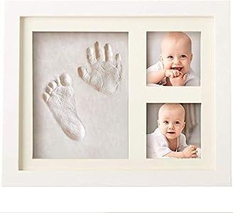 Bubzi Co Set de Marco de fotos y Huellas de bebé en Arcilla – Recuerdo de las huellas de mano y pie – Regalos para bebes – Set de modelado ideal decoración de habitación bebé o regalo de baby shower