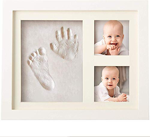 Set de Marco de Fotos y Huellas de Bebé en Arcilla – Recuerdo memorable – No tóxico – Ideal Regalos Para Bebes - Marco De Madera y Cristal Acrílico – Ideal Decoración o Regalo De Baby Shower