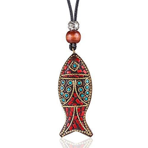 Hotsale Vintage Color Fish Pendant Necklaces for Women Handmade Women Jewelry