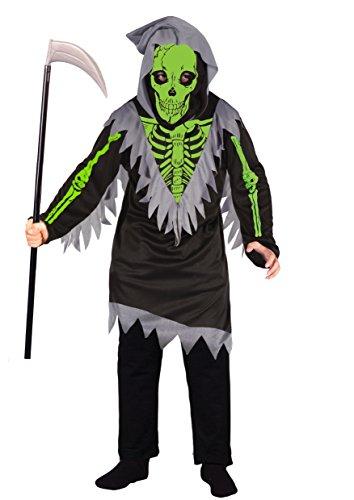 Ciao - Green Skeleton Boy Costume Scheletro con Falce per Bambini, Nero/Verde, 5-7 anni, 13028.5-7