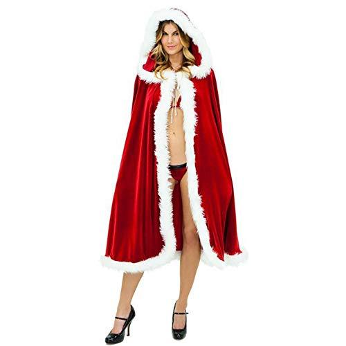 Santa Dress Mrs Santa Claus Costume, Velvet Red Hooded Christmas Cape Cloak Robe, Christmas Women Girls Cosplay Costume