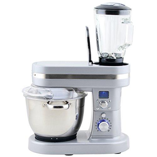 H.Koenig KMC90 Küchenmaschine mit Kochfunktion / 3 Koch-Programme / 10 Geschwindigkeitsstufen / 5,5 L Schüssel / 1,5 L Glas Mixaufsatz / 1200 W / Edelstahl / grau