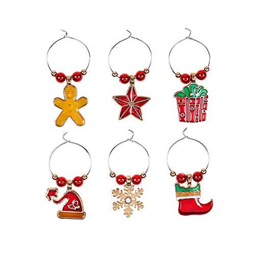 Sansund Weinglas-Charms Kelch, Weihnachtsglockenkranz, Weihnachtsmann, Weihnachtsbaum, Stange, Strumpf, Dekoration, Getränke-Marker, Partyzubehör 5