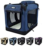 EliteField 3-Door Folding Soft Dog Crate, Indoor & Outdoor Pet Home, Multiple Sizes and Colors Available (42' L x 28' W x 32' H, Navy Blue)