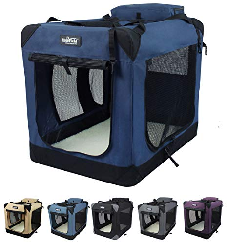 """EliteField 3-Door Folding Soft Dog Crate, Indoor & Outdoor Pet Home, Multiple Sizes and Colors Available (24"""" L x 18"""" W x 21"""" H, Navy Blue)"""