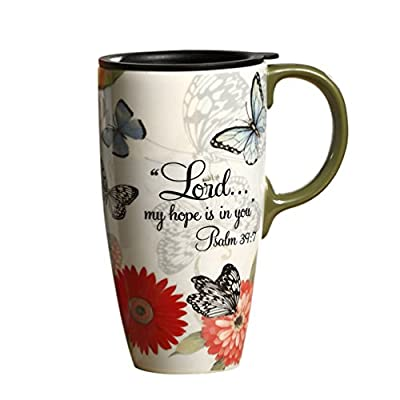Bible Verse Ceramic Travel Cup With Lid And Handle