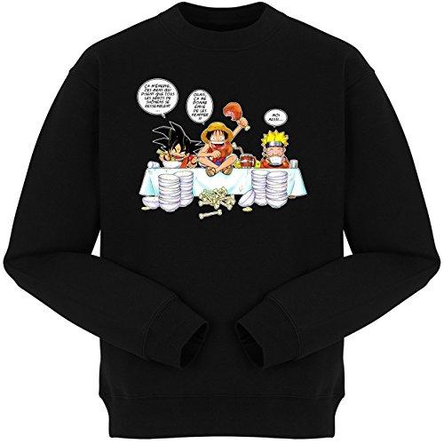 Pull Noir Parodie DBZ, One Piece et Naruto - Sangoku, Naruto et Luffy - La Recette d'un Bon Manga : (Sweatshirt de qualité Premium de Taille M - imprimé en France)