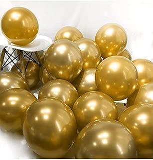 BALONAR 3.2g 12Inch 100pcs Metallic Chrome Balloon in Gold for Wedding Birthday Party Decoration (Gold)