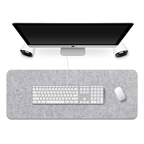 """Extended Gaming Mouse Pad, Corey-z Non-Slip Rubber Base Big Mousepad with Soft Felt Cloth, Ergonomic Thick Keyboard Mat for Office, Home, Gamer, Writing (Light Gray, 31.3""""x15.7""""x0.12"""")"""