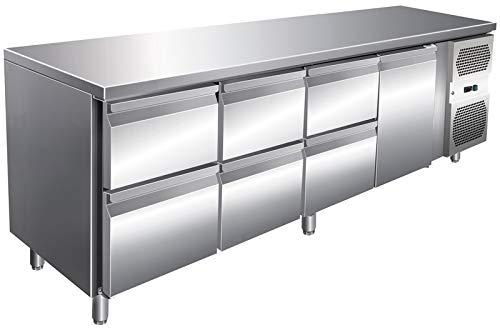 Kühltisch 2230x700x860mm, 1 Tür, 6 Schubladen