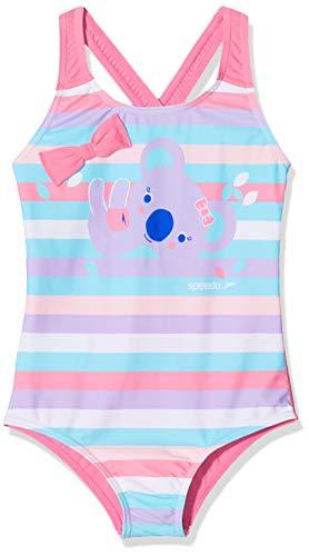 Speedo Koko Koala Digital Placement Crossback Costume da Bagno, Bambina, Hard Candy/Galinda/Powder Blush/Blu Marino/Beautiful Blue, Taglia Unica