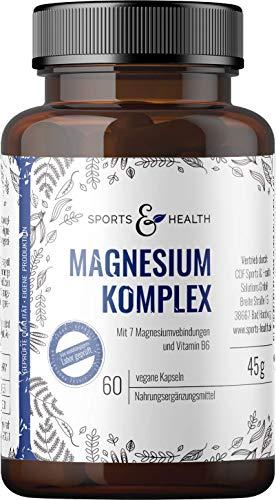 Magnesium Kapseln Mit 7 Magnesiumvarianten, Magnesiumchlorid, Magnesiumcitrat, Magnesium-Komplex, Hochdosiert, Vegan Mi Vitamin B6 (P-5-P) Optimal Bioverfügbar, Frei Von Zusatzstoffen