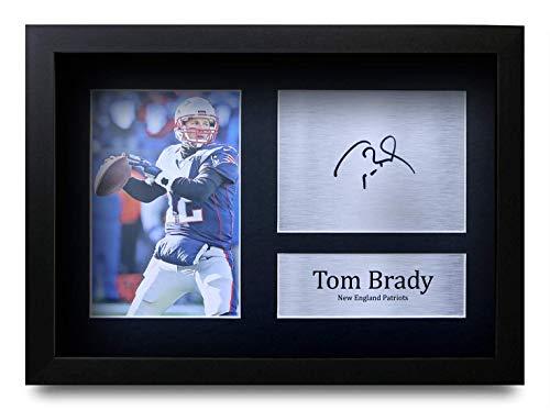 HWC Trading Tom Brady A4 Gerahmte Signiert Gedruckt Autogramme Bild Druck-Fotoanzeige Geschenk Für New England Patriots American Football Fans