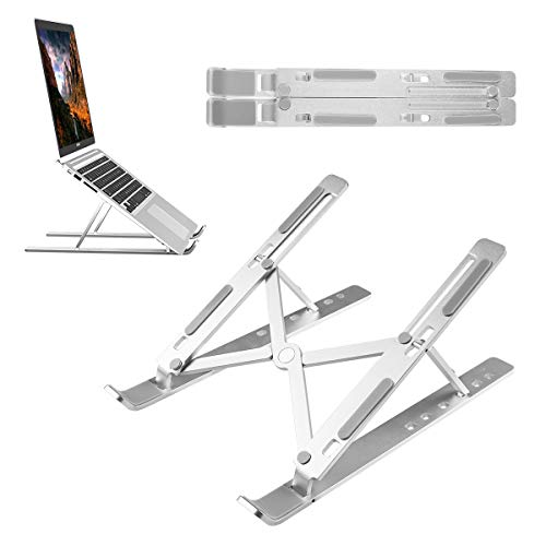 """UKON Laptop Stand Adjustable Notebook Stand Holder Ergonomic Universal Foldable Multi-Angle Stand Portable Laptop Raiser Compatible with MacBook Pro/Air,Dell,HP,Acer 10""""-15.6"""" Laptops(Silver)"""