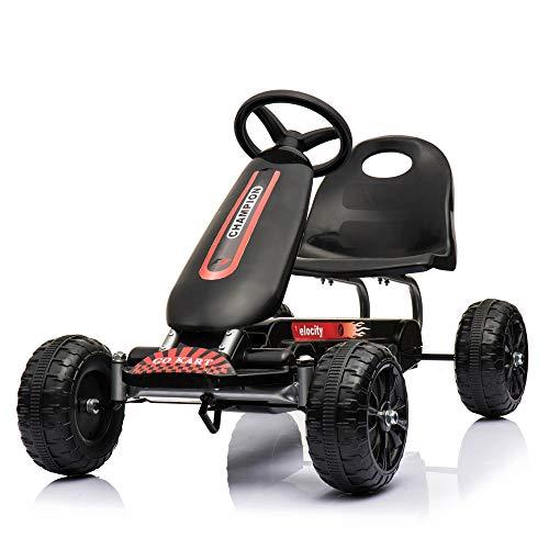 Regenboghorn Go-Kart, 4-Rad-Pedal, Outdoor-Racer mit verstellbarem Sitz, Bremse, Tretauto für Jungen und Mädchen (Black)