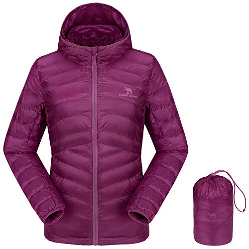 CAMEL CROWN Women's Lightweight Hooded Down Jacket Packable Puffer Insulated Coats XL Purple