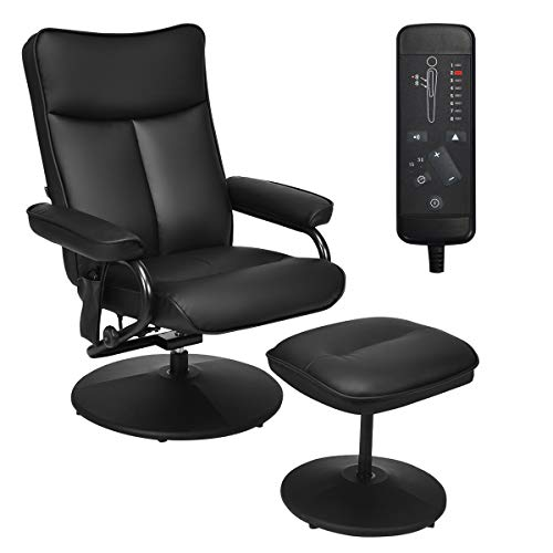 Giantex Electric Massage Recliner Chair with Ottoman, Faux Leather Swivel...