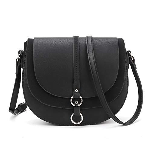 AFKOMST Women Crossbody Bag Saddle Shoulder Bag Small Satchel Purse and Black Tote Handbag Black