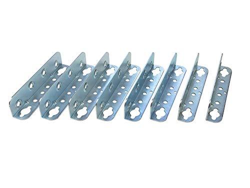 Gedotec Möbelverbinder Metall Bettverbinder HS mit Schlüssellochstanzung | Höhe 127 mm | Einhängeverbinder mit Sicherungslöchern | Winkel Metall verzinkt | 8 Stück - Bettwinkel-Verbinder zum Schrauben