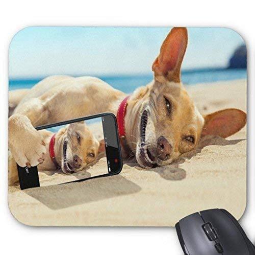 Precision Seam Edge Gaming Mauspad, Golden Dog Beach Lustiger Selfie-Druck Rutschfeste Mausmatte