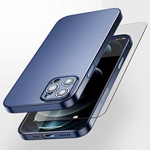 SmartDevil Ultra Fina Funda iPhone 12 Pro con Gratis Cristal Templado,Absorción de Choque Flexible y Duradera con Diseño de Matte para Cover Case iPhone 12 Pro (6.1 Pulgada)-Azul Oscuro Mate