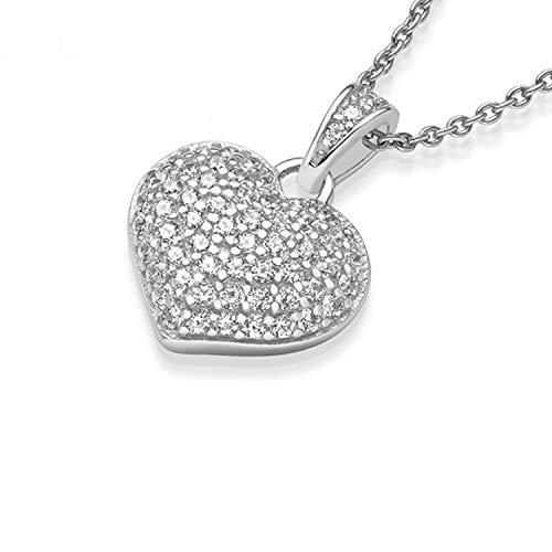 Herzkette Silber 925 mit 54 Zirkonia Steinen GRATIS Etui mit Etui-Gravur: *Ich Liebe Dich* Echt-Silber Herz-Anhänger Herzchenkette Halskette Frauen Geschenke Freundin Geschenk-Idee FF72SS925ZIFA45-4