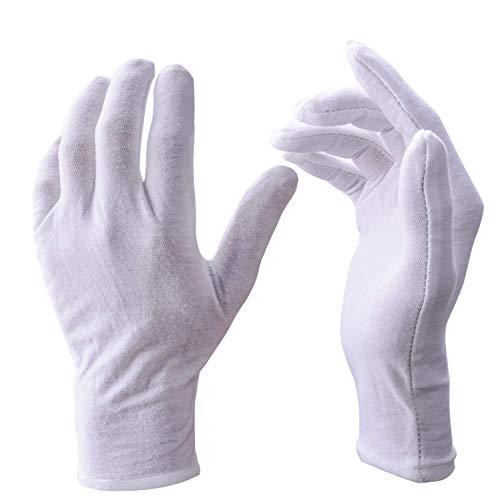 UClever 12 Pares guantes algodon Blanco De Trabajo De Inspección Para La Inspección De Moneda, Joyería, Plata O Foto