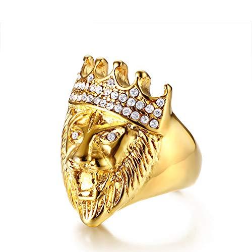 SLCN Anillo de Hombre Estilo Punk, Acero Inoxidable Dorado, Cabeza de León con Corona de Diamantes de Imitación,12