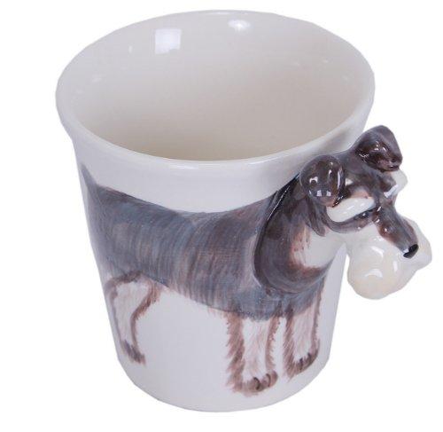 Hunde Tier Tasse 3d Keramik Tassen Tier Henkel Schnauzer Hund 14 x 15 x 10 cm